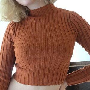 orange mock neck cropped long sleeve sweater
